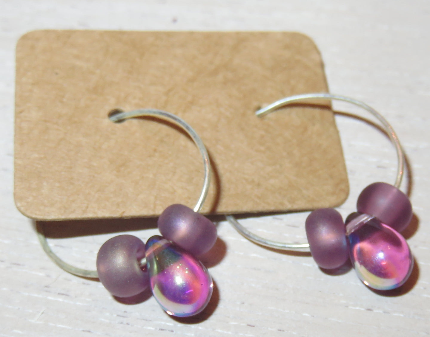 Shop Imitation Jewelry:  Purple Iridescent Earrings