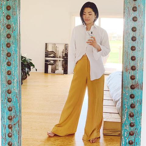 Oversized shirt and wide leg pants