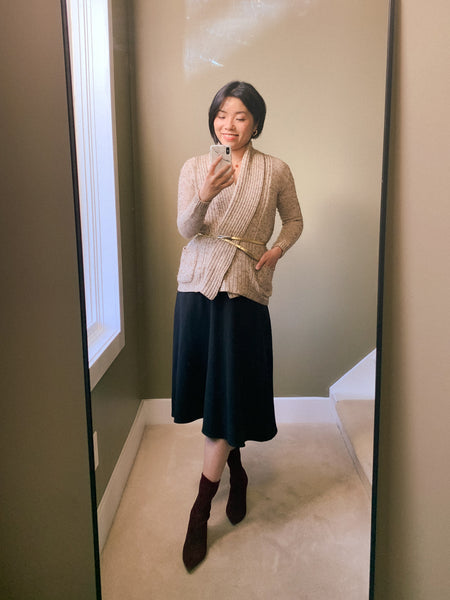 Audrey skirt with cardigan and belt