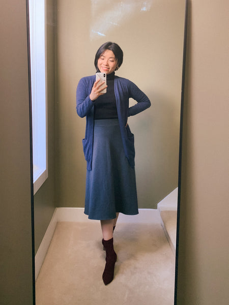 Audrey skirt with turtleneck and cardigan