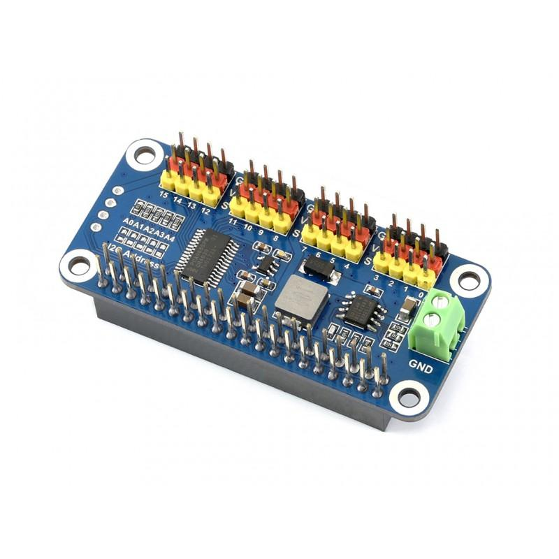 Servo Driver HAT for Raspberry Pi | I2C, 16-chnnel, 12-bit