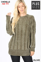 PLUS CABLE KNIT CHENILLE SWEATER