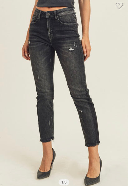 Black High Waisted Vintage Straight Jeans