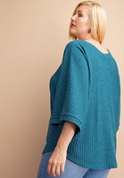 Plus Teal Ribbed Top