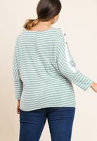 Faux Button Striped Long Sleeve Top