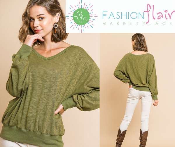 V-Neck Olive Knit Top