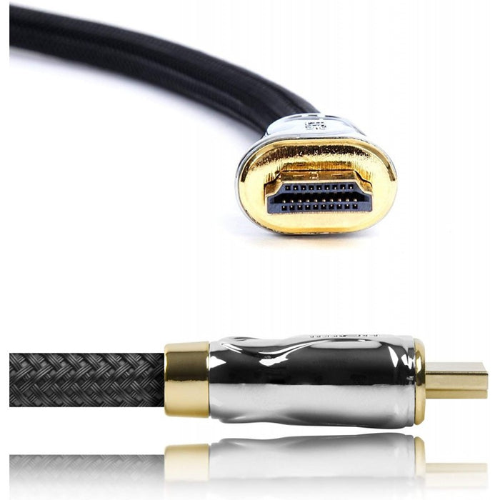 Duronic HDC04 / 5m High-Speed-HDMI-Kabel mit Ethernet - 2.0 4K 2160p Ultra-HD 3D - rot-schwarz - 5 Meter