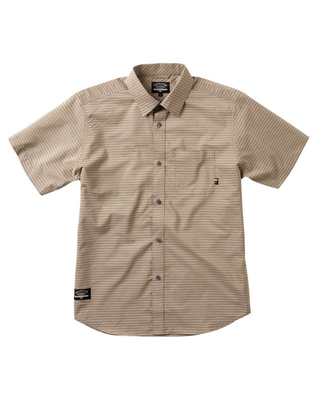 Pencil Stripe Short Sleeve :: Rich Khaki