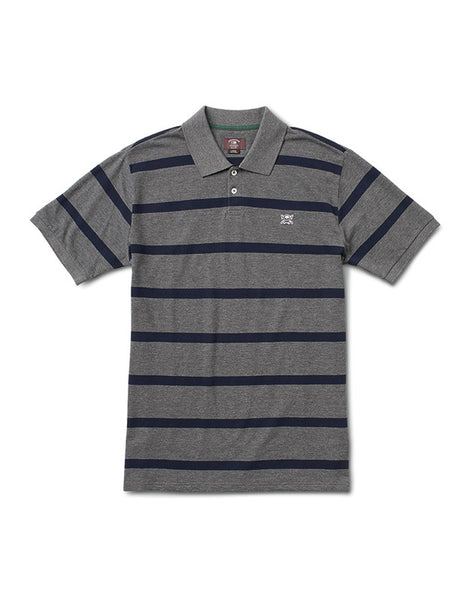 PIRATE STRIPE POLO :: GREY HEATHER