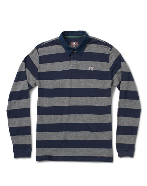 PIRATE STRIPE POLO L/S :: GREY HEATHER