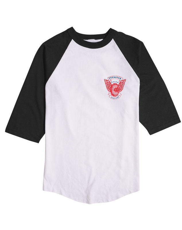 Winged Wheel 3/4 Sleeve Tee :: White/Black
