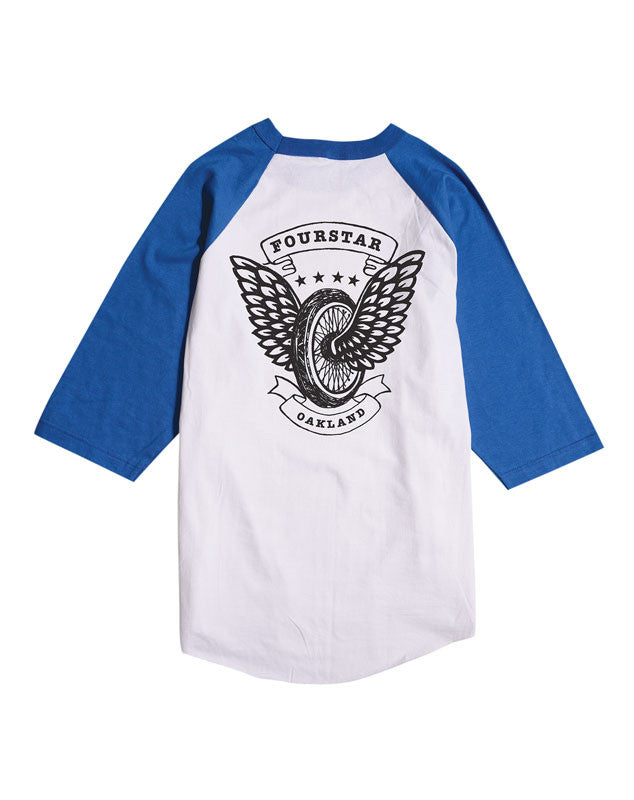 Winged Wheel 3/4 Sleeve Tee :: White/Royal