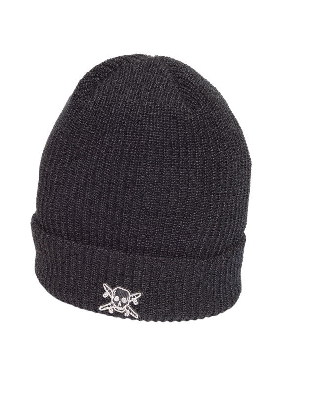 Pirate Patch Fold Beanie :: Black