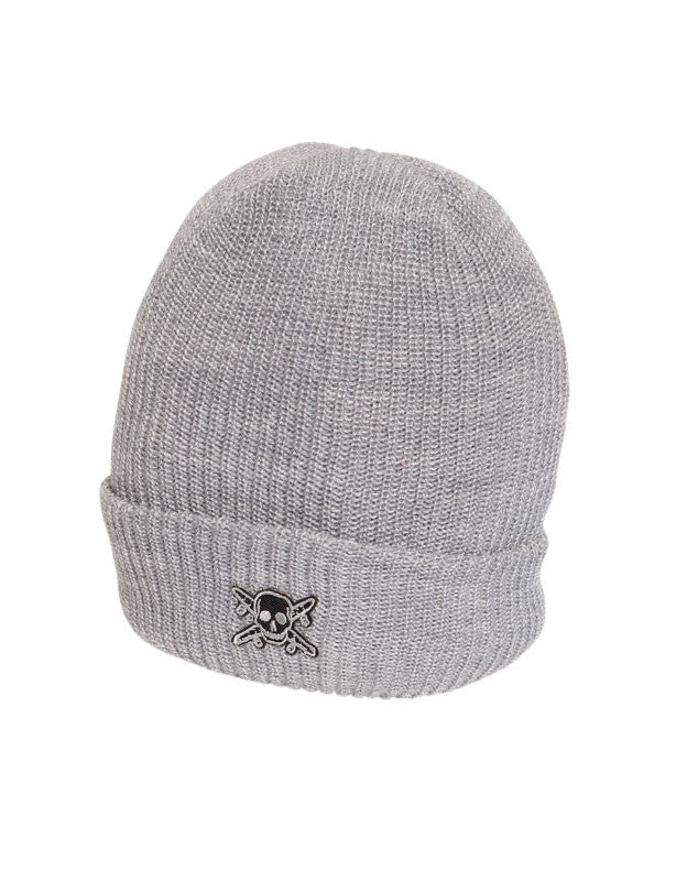 Pirate Patch Fold Beanie :: Grey Heather