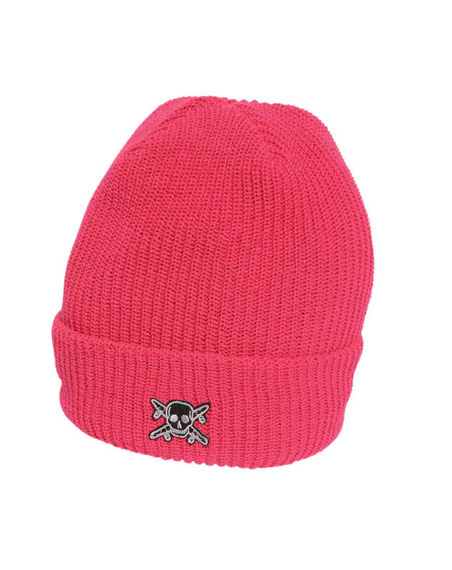 Pirate Patch Fold Beanie :: Magenta