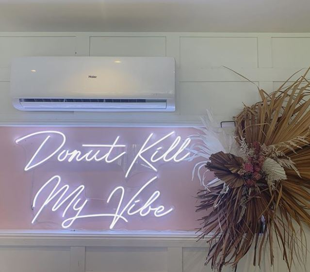 personalised led light for cafe, bar and restaurant. Led light in white with low power consumption and green for the environment. Donut kill my vibe is a fun a pun for your event or general display.
