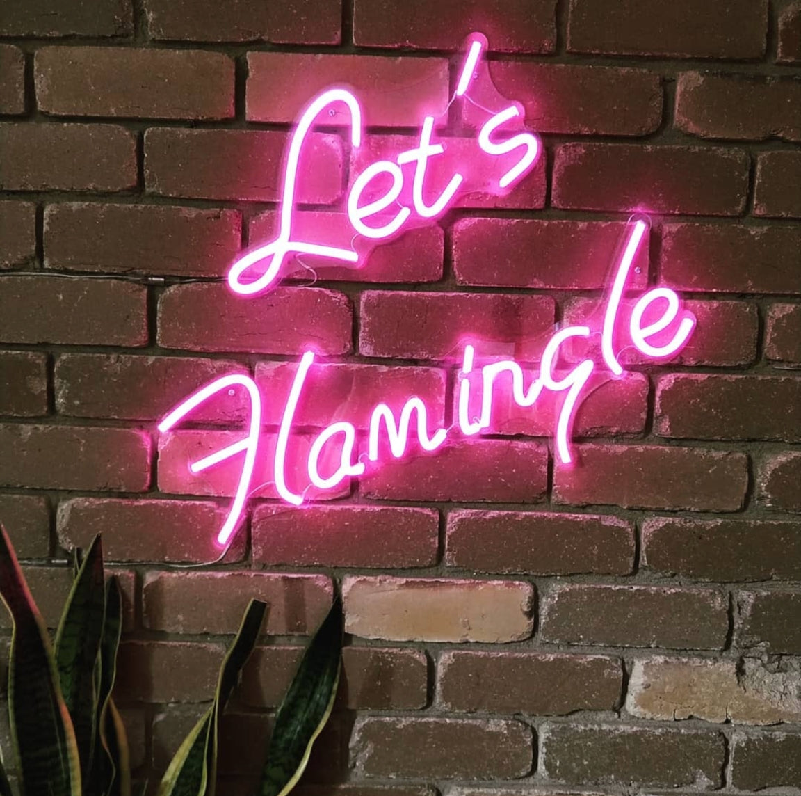 lets flamingle was created for our customer's kitchen home decoration.                                   lit up in neon pink, the lets flamingle neon light was great addition to spice up the                                        aesthetic of your home and living space as an ambient lighting.