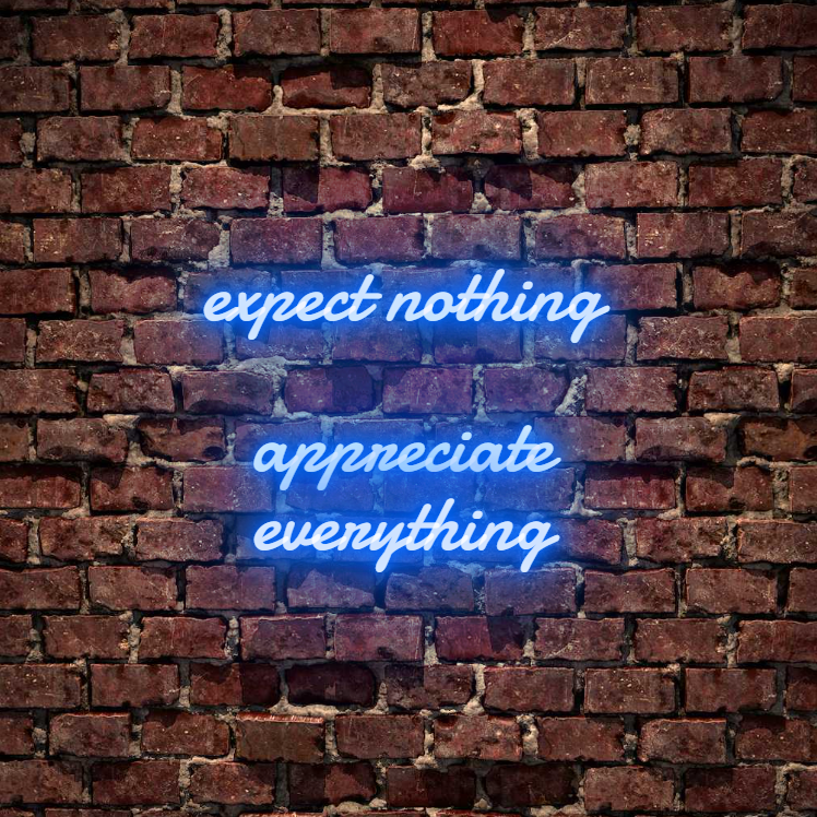 Expect nothing, appreciate everything custom neon sign. Available white, warm white, light pink, red, baby blue, electric blue, apple green, bright orange, deep red and rose purple. Create a neon sign for bedroom or living room. Premium LED neon tubing with 7mm acrylic clear backing, cut to shape. Perfect wall light for your room or business or as a wedding neon light. Free delivery in Australia. Neonlightsigns create the best neon sign 2021 online & cheap to create your personalised custom neon.