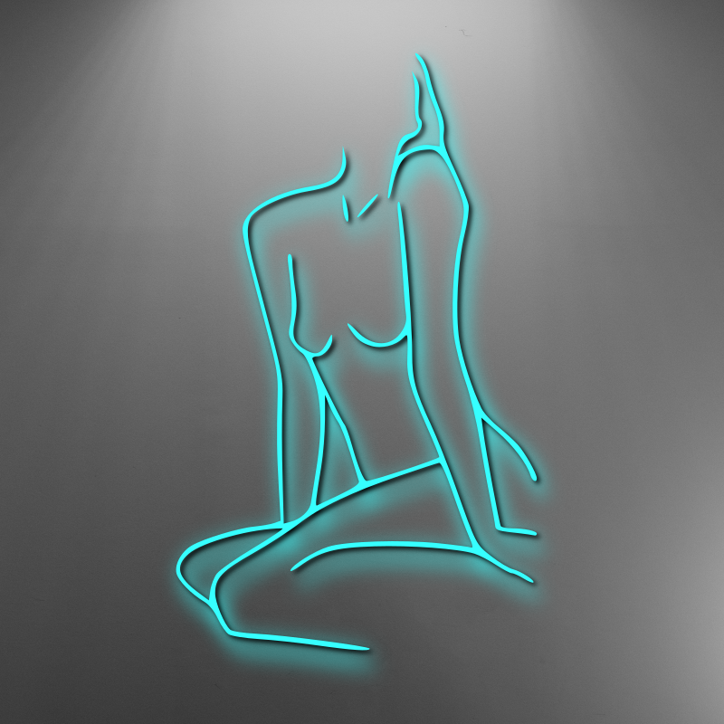 Line drawing femme body custom neon sign. Available white, warm white, light pink, red, baby blue, electric blue, apple green, bright orange, deep red and rose purple. Create a neon sign for bedroom or living room. Premium LED neon tubing with 7mm acrylic clear backing, cut to shape. Perfect wall light for your room or business or as a wedding neon light. Free delivery in Australia. Neonlightsigns create the best neon sign 2021 online & cheap to create your personalised custom neon.