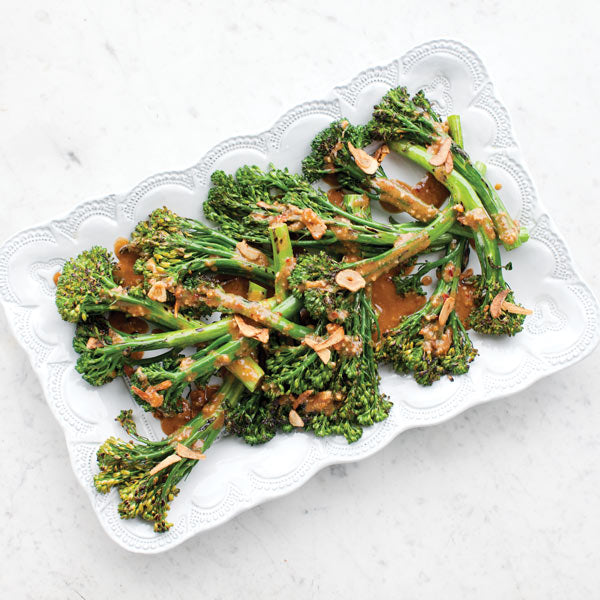 Recipe: Charred Miso Broccolini with Crispy Garlic Chips