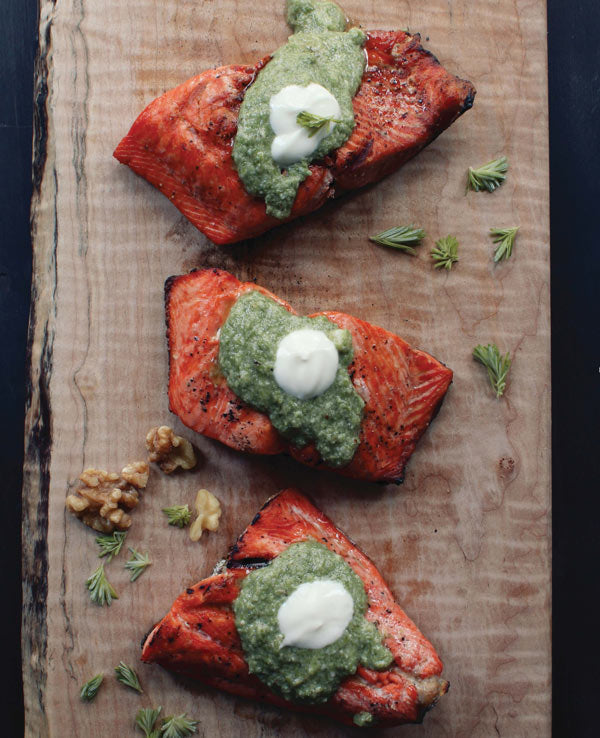 Babequed Salmon with Tree Tip Pesto. Copyright © 2017 Lindsay Anderson and Dana VanVeller. Published by Appetite by Random House®, a division of Penguin Random House Canada Limited. Reproduced by arrangement with the Publisher. All rights reserved.