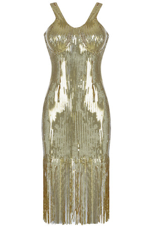 Sequins Bodycon Dress - Gold