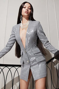 Lyra Blazer Dress  | Silver