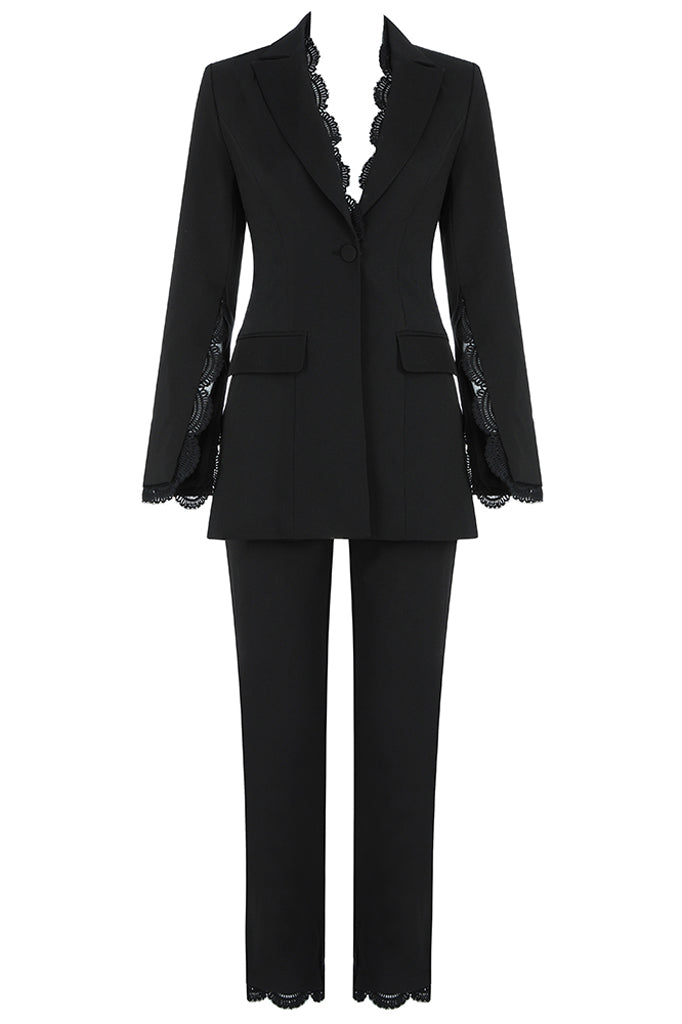 Elspeth Two Pieces Sets Suit-Black