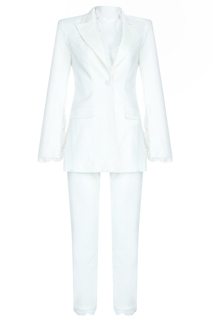 Elspeth Two Pieces Sets Suit-White