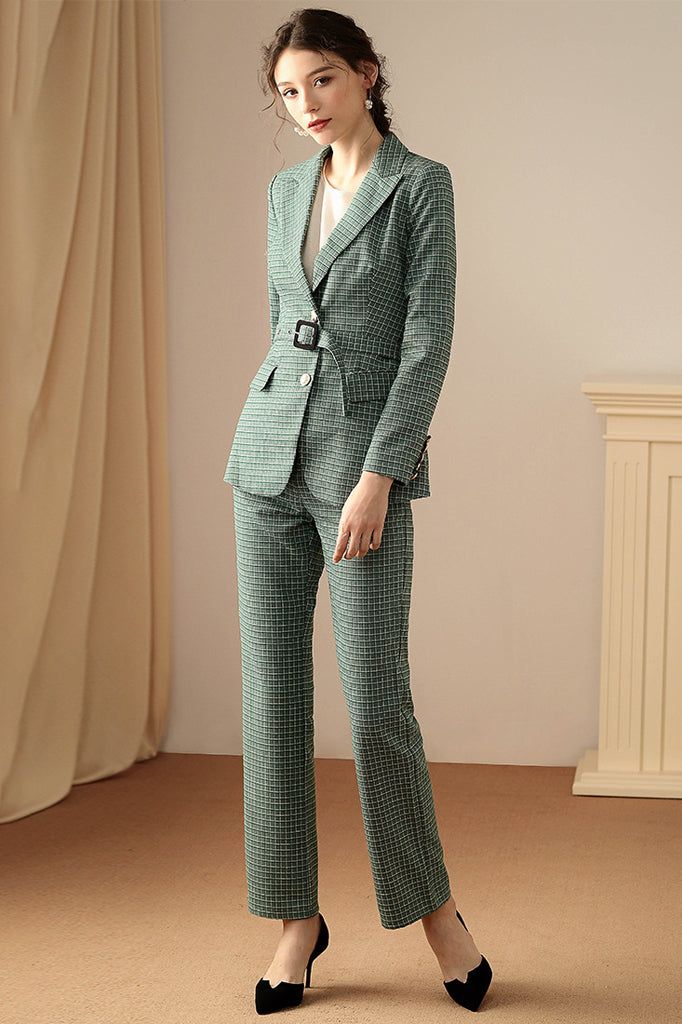 BH6494 Two Pieces Blazer Suit- Green