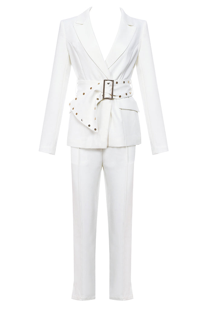 Althea Two Pieces Suit Sets-White