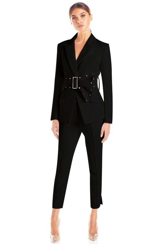 Althea Two Pieces Suit Sets-Black