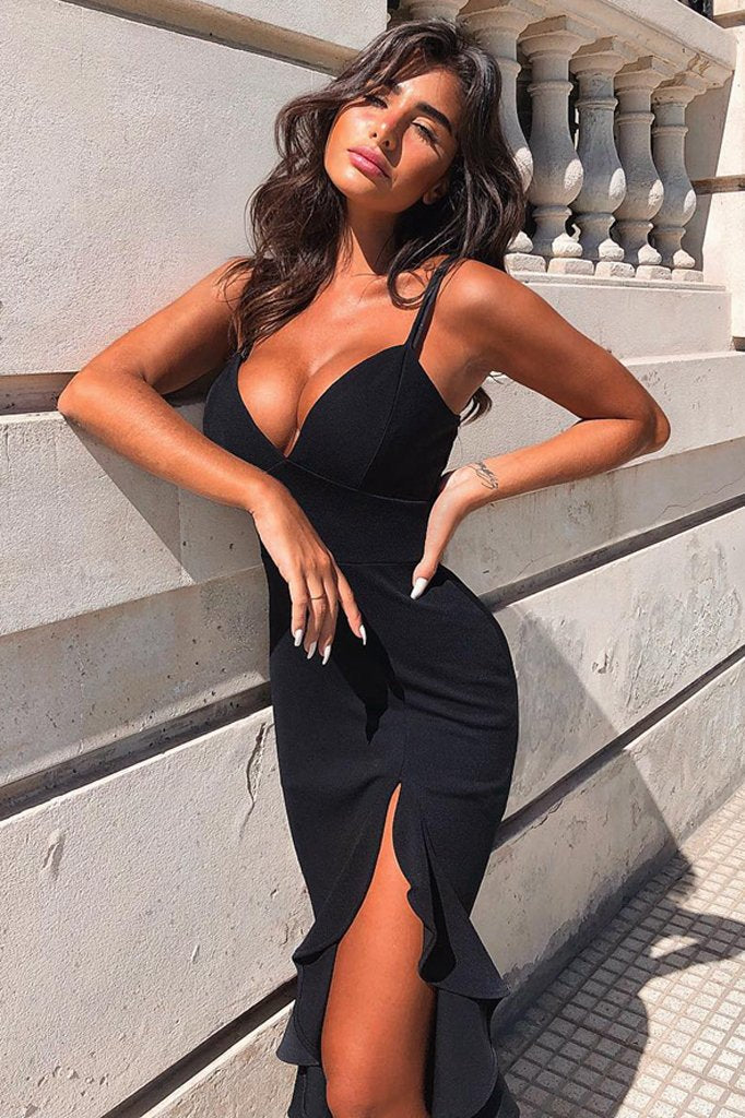 Aida Bandage Dress-Black