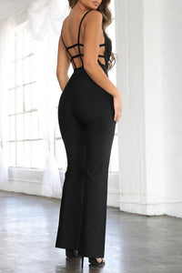 H7063 Bandage Jumpsuit-Black