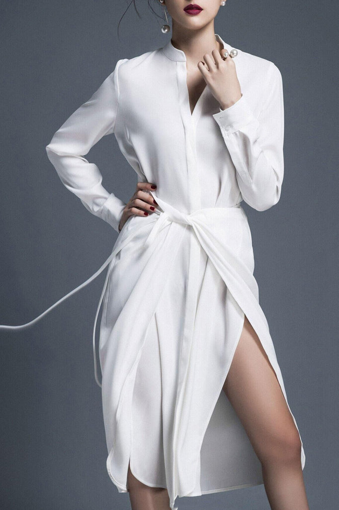 BH6401 Shirt Dress-White
