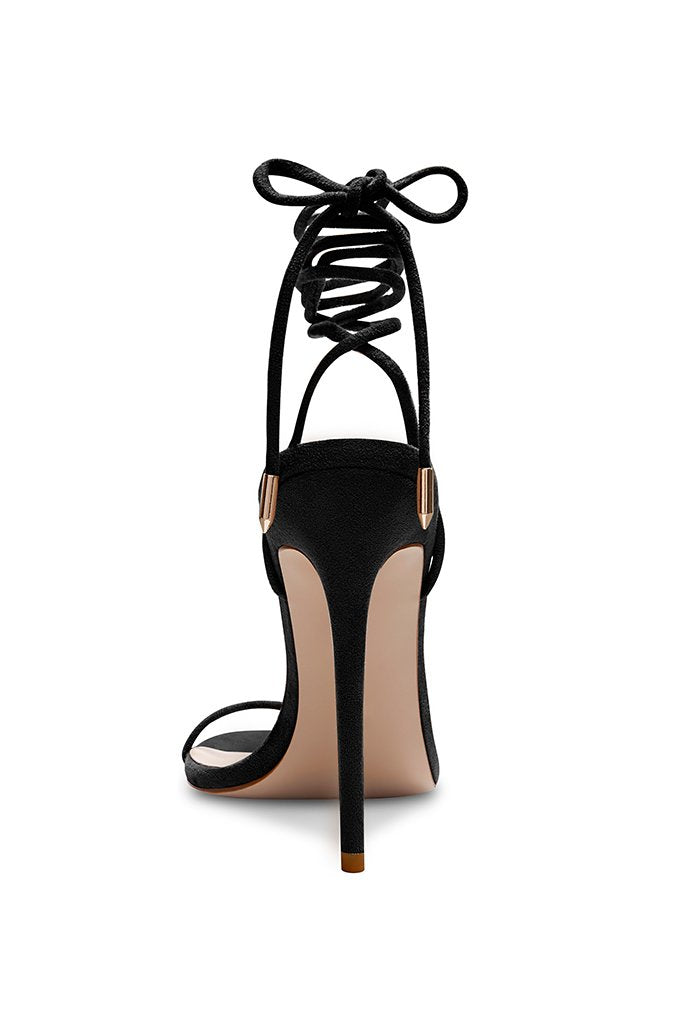 Barely There Lace Up Heel - Noir