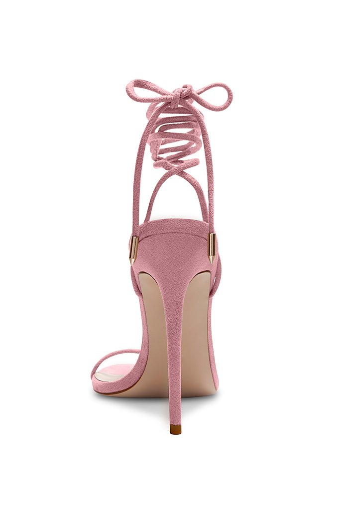 Barely There Lace Up Heel - Baby Pink