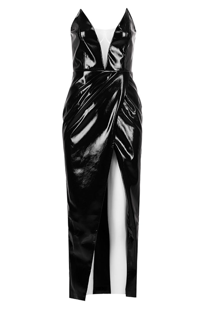 Pussycat Strapless Leather Dress-Black