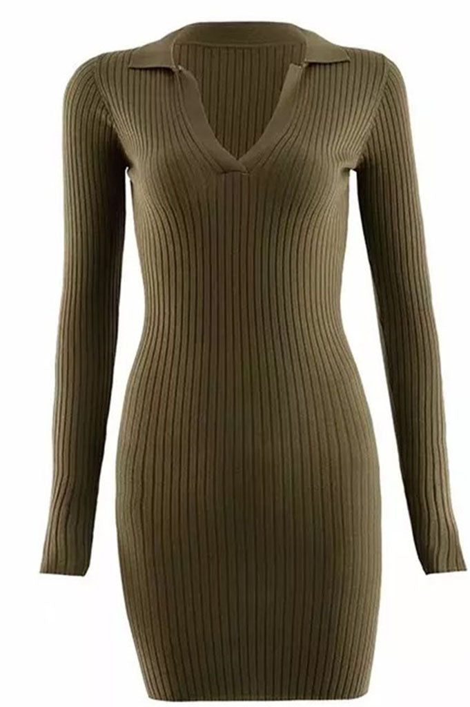 Body Ribbed Dress | Khaki