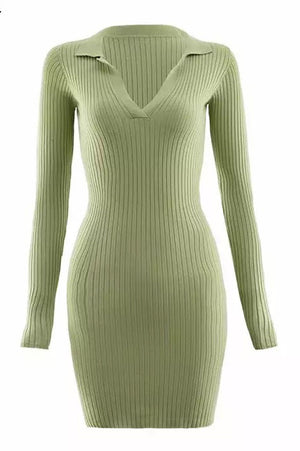 Body Ribbed Dress | Pistachio