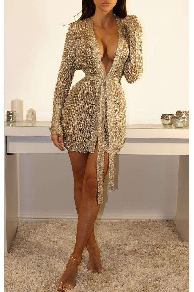 Dubai Mini Metallic Knit Wrap Dress - Gold