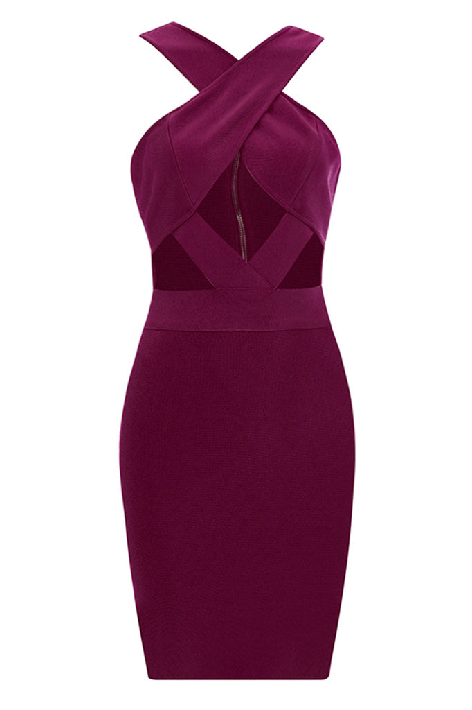Celestine Bandage Dress-Berry Red