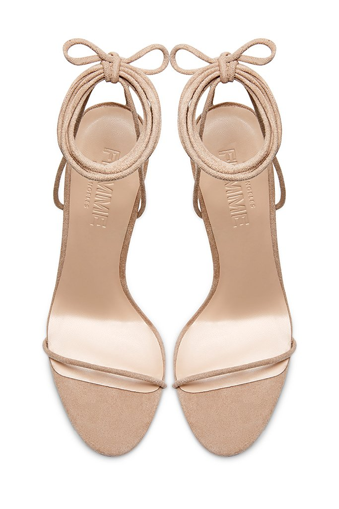Barely There Lace Up Heel - Nude