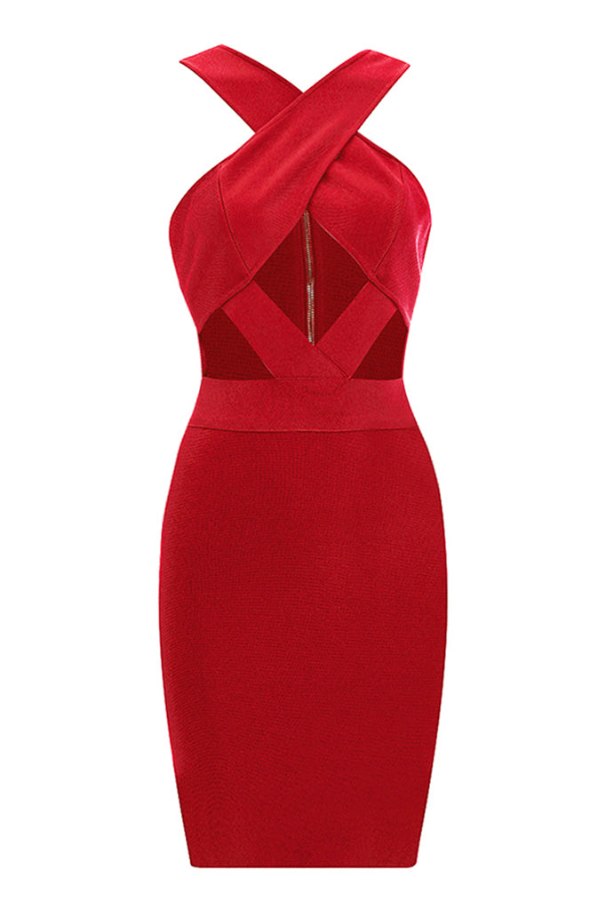 Celestine Bandage Dress-Red
