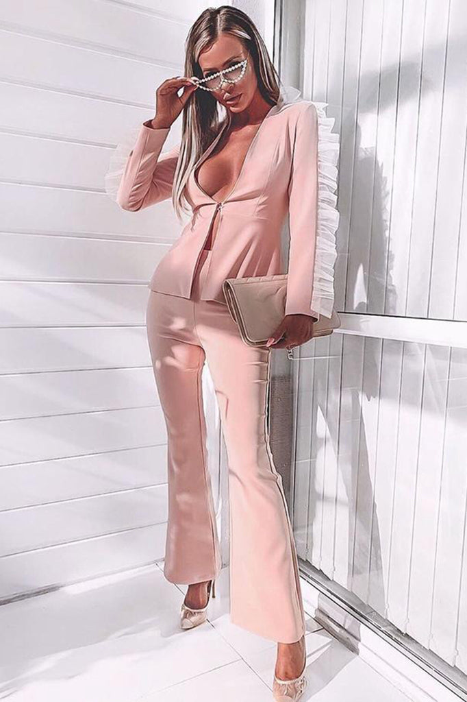 Agnes Two Pieces Sets Suit-Pink