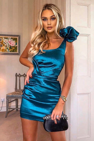Fiona One Shoulder Bodycon Dress-Blue
