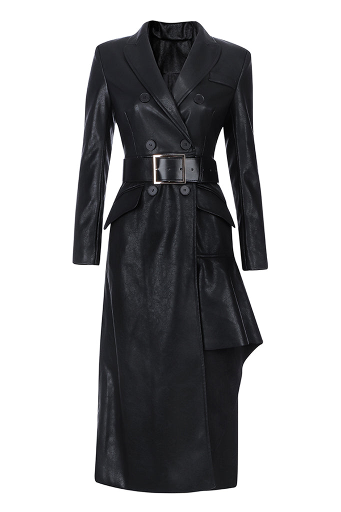 Ailie PU Leather Dress | Black