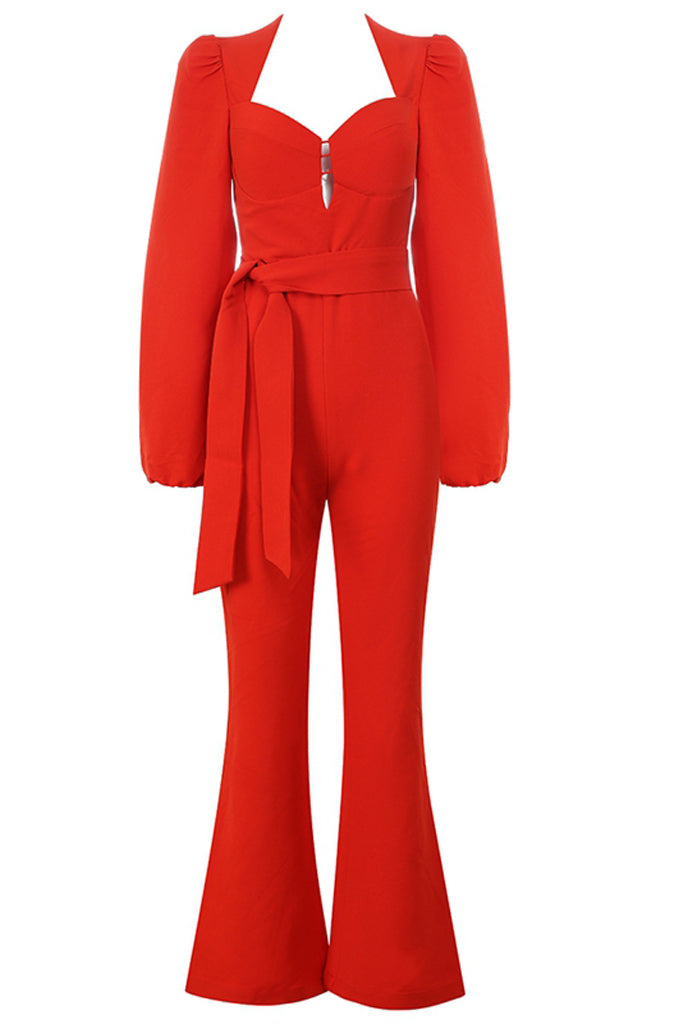 Alison Bodycon Jumpsuit-Red