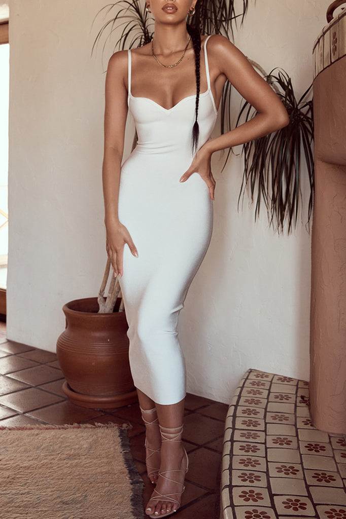 Abigail Bandage Midi Dress | White