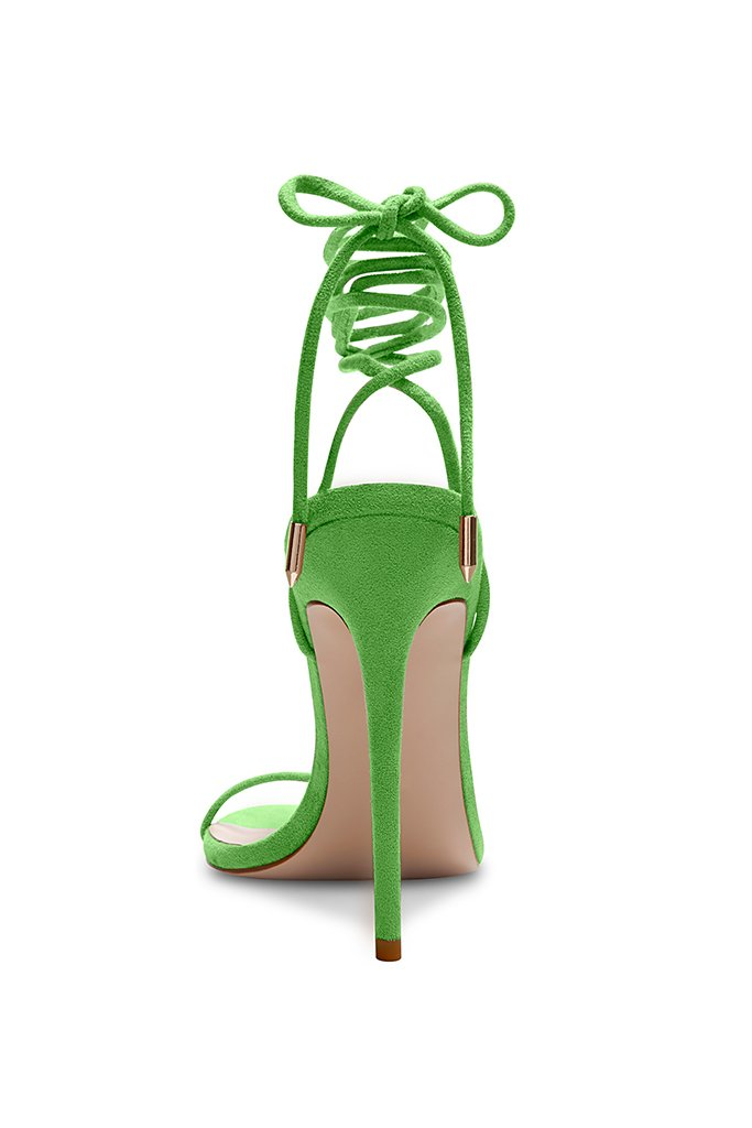 Barely There Lace Up Heel - Lime